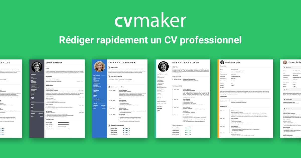Faire Un Cv Professionnel En Ligne Ici Cvmaker