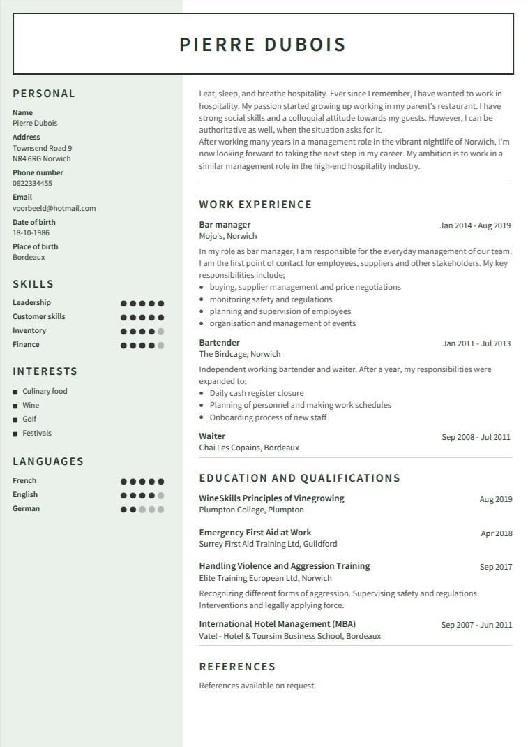 CV en anglais exemple - Modèle Auckland